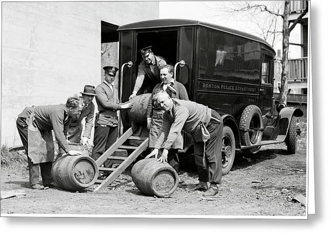 Boston Police Paddy Wagon Prohibition Raid C. 1929 Greeting Card by Daniel Hagerman