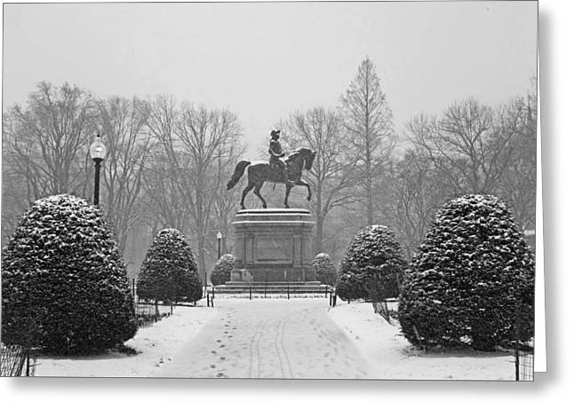 Boston Public Garden Boston Ma Winter Snow Black And White Greeting Card by Toby McGuire