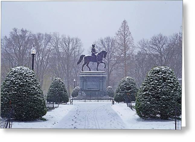 Boston Public Garden Boston Ma Winter Snow Greeting Card by Toby McGuire