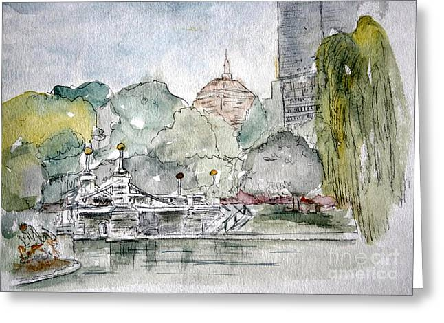 Boston Garden Greeting Cards - Boston Public Gardens Bridge Greeting Card by Julie Lueders
