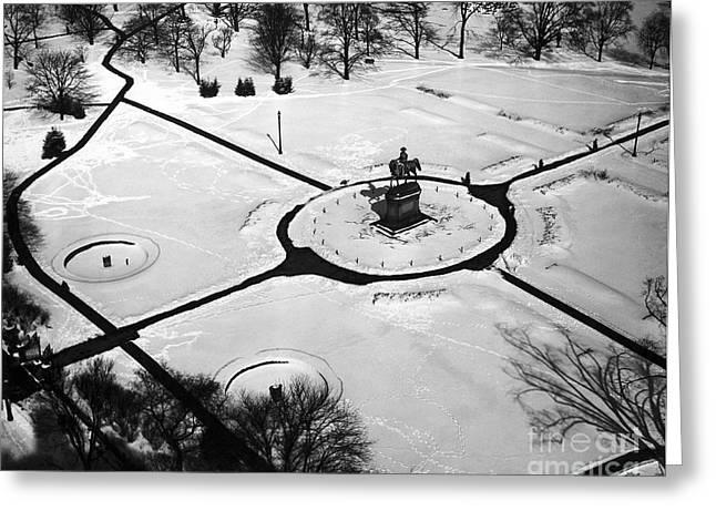 Boston Public Gardens In Winter Greeting Card by American School