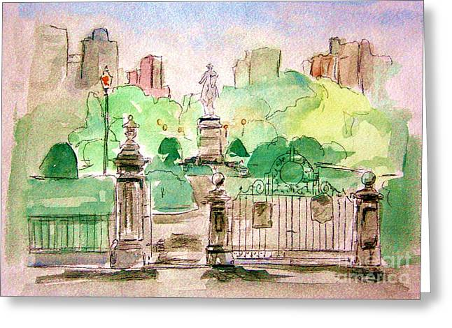 Boston Garden Greeting Cards - Boston Public Gardens Greeting Card by Julie Lueders