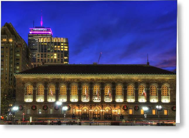 Boston Public Library At Night - Copley Square Greeting Card by Joann Vitali