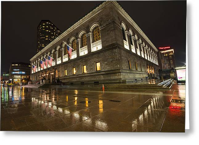 Boston Public Library Rainy Night Boston Ma Greeting Card by Toby McGuire