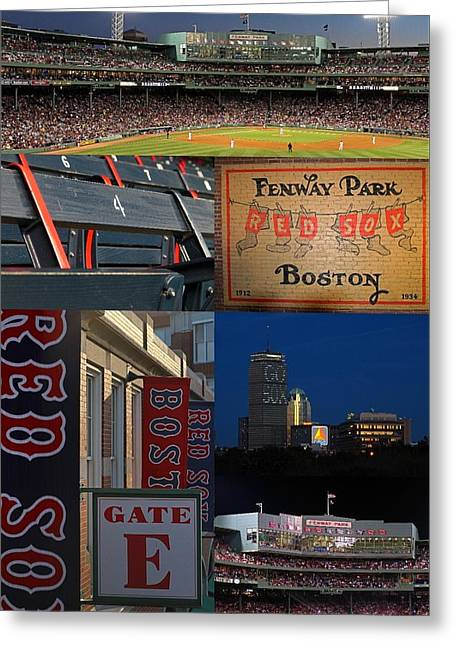 Fenway Park Greeting Cards - Boston Red Sox and Fenway Park Collage  Greeting Card by Juergen Roth