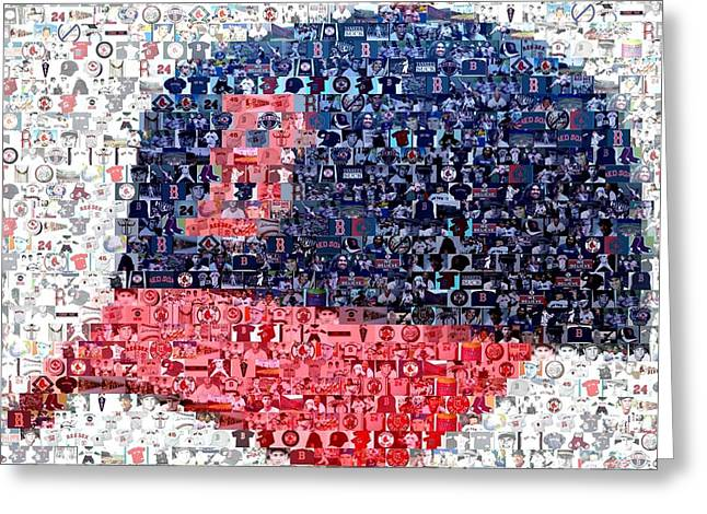 Boston Red Greeting Cards - Boston Red Sox Cap Mosaic Greeting Card by Paul Van Scott