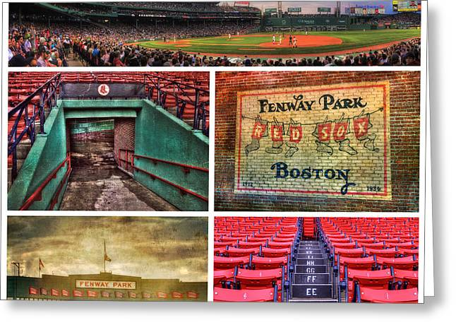 Boston Sports Greeting Cards - Boston Red Sox Collage - Fenway Park Greeting Card by Joann Vitali