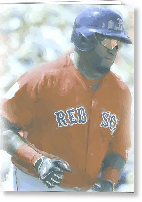 Boston Red Sox David Ortiz 2 Greeting Card by Joe Hamilton