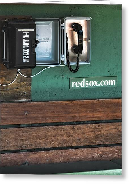 Red Sox Nation Greeting Cards - Boston Red Sox Dugout Telephone Greeting Card by Susan Candelario