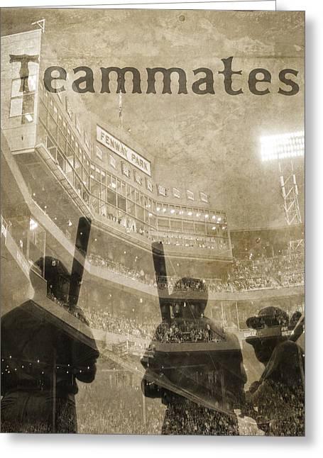 Vintage Boston Red Sox Fenway Park Teammates Statue Greeting Card by Joann Vitali