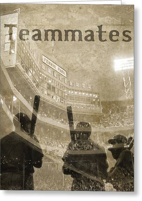 Baseball Photographs Greeting Cards - Vintage Boston Red Sox Fenway Park Teammates Statue Greeting Card by Joann Vitali