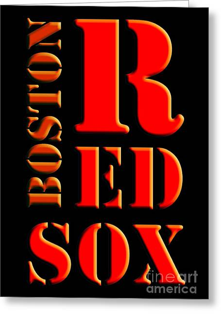 Boston Red Sox Original Typography Red And Black Greeting Card by Pablo Franchi
