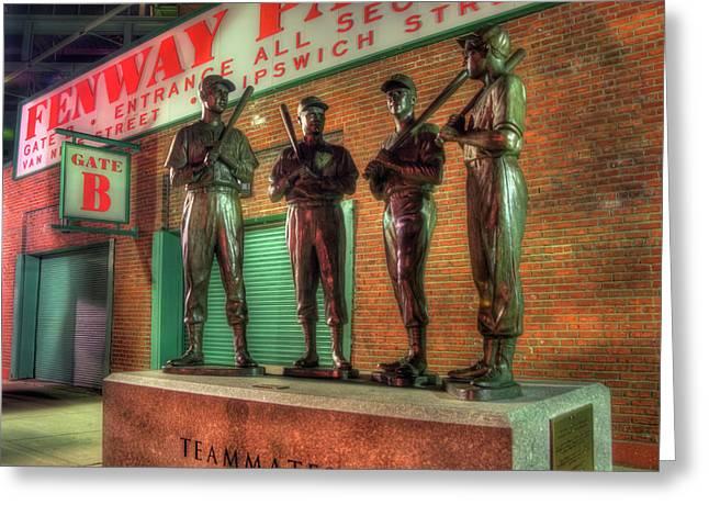 Boston Red Sox Teammates Statue - Fenway Park Greeting Card by Joann Vitali