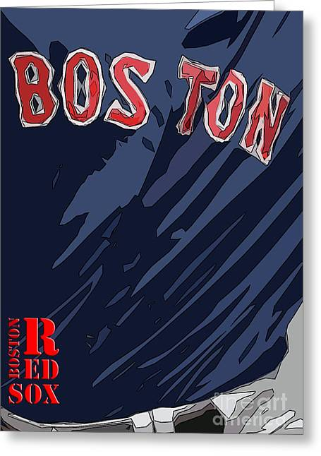 Boston Red Sox Typography Blue Greeting Card by Pablo Franchi