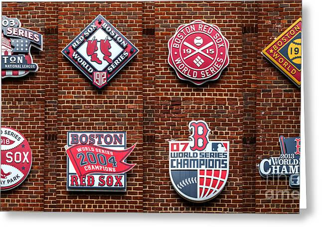 Boston Red Greeting Cards - Boston Red Sox World Series Emblems Greeting Card by Diane Diederich