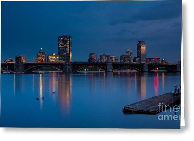 Boston Red Sox Greeting Cards - Boston Skyline and Charles River Greeting Card by Melanie McKennon