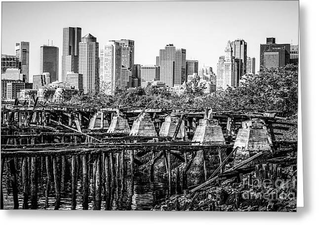 Boston Skyline And Pier In Black And White Greeting Card by Paul Velgos