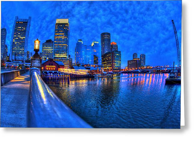 Night Lamp Greeting Cards - Boston Skyline at Night and Tea Party Museum in Fort Point CHannel Greeting Card by Joann Vitali
