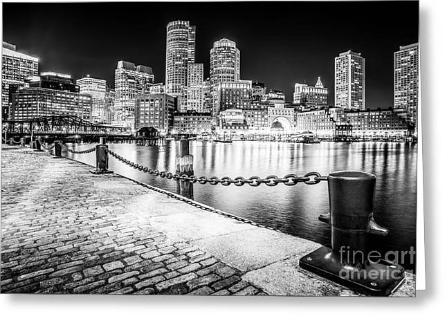 Boston Skyline At Night Black And White Picture Greeting Card by Paul Velgos