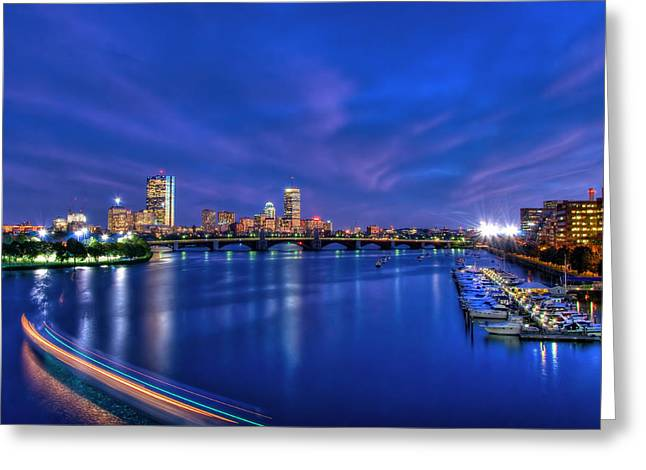 Charles River Greeting Cards - Boston Skyline at Night Greeting Card by Joann Vitali