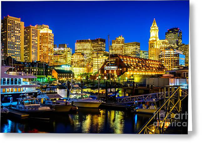 Outside Pictures Greeting Cards - Boston Skyline at Night Greeting Card by Paul Velgos