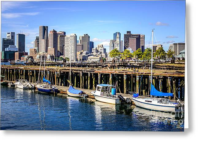 Sailboat Art Greeting Cards - Boston Skyline at Piers Park Photo Greeting Card by Paul Velgos