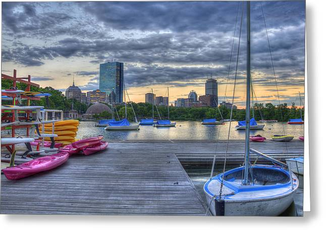 Charles River Greeting Cards - Boston Skyline at Sunset Greeting Card by Joann Vitali