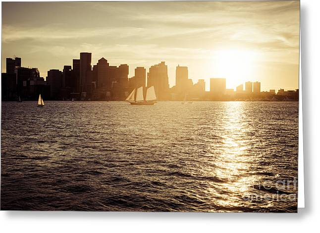 Boston Skyline At Sunset Photo Greeting Card by Paul Velgos