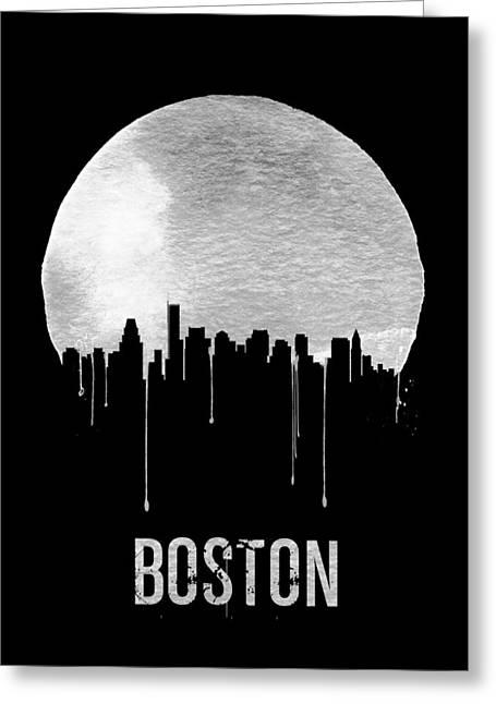 Boston Skyline Black Greeting Card by Naxart Studio