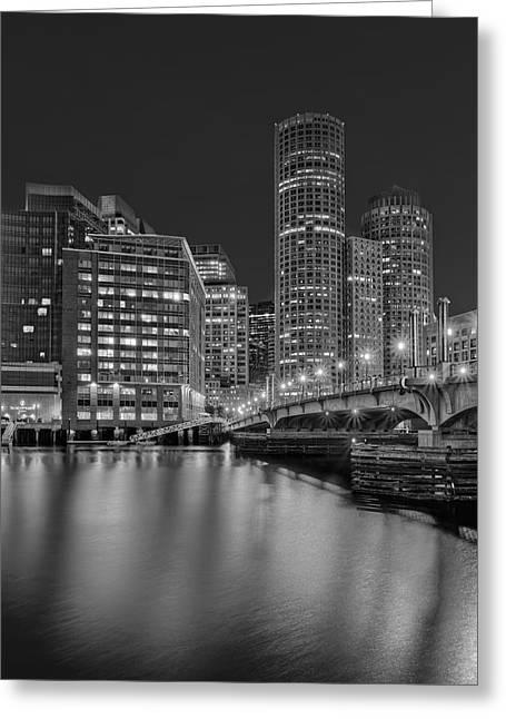 Boston Harbor Greeting Cards - Boston Skyline Blue Hour BW Greeting Card by Susan Candelario