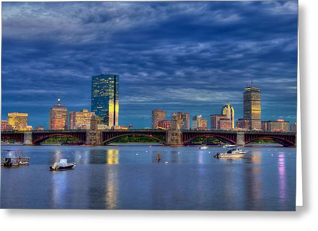 Science Greeting Cards - Boston Skyline Blue Hour Sunset Greeting Card by Joann Vitali