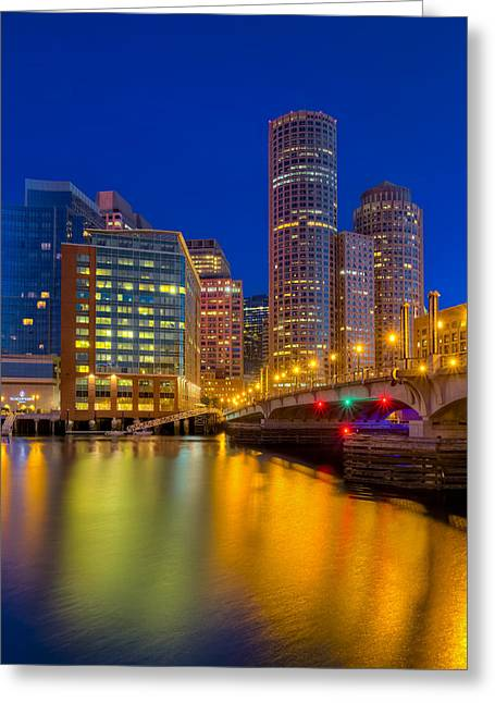 Boston Harbor Greeting Cards - Boston Skyline Blue Hour Greeting Card by Susan Candelario