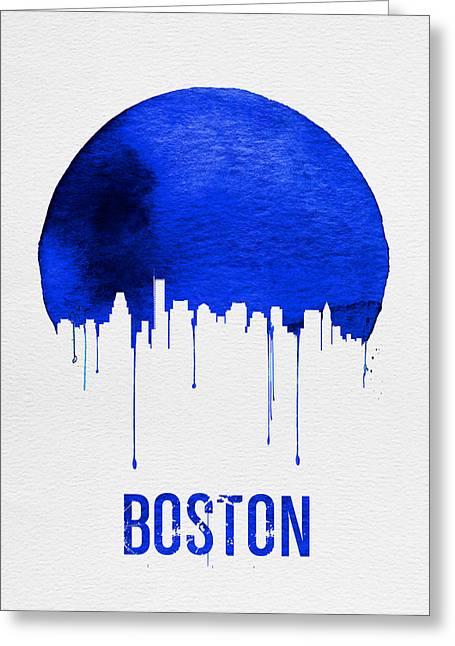 Boston Skyline Blue Greeting Card by Naxart Studio