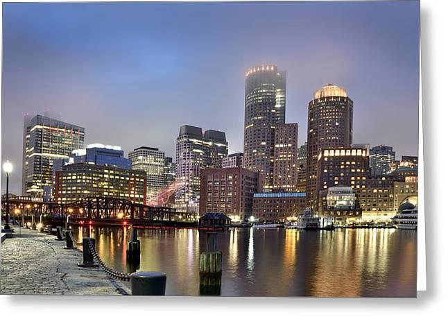 Boston Skyline Greeting Card by Brendan Reals