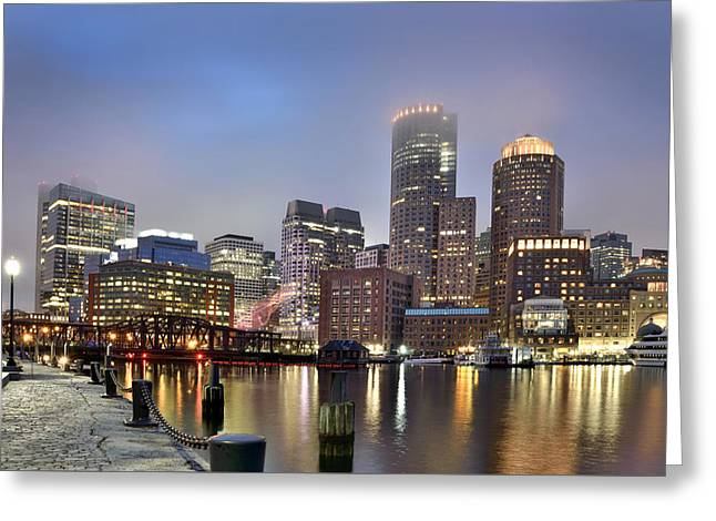 River View Greeting Cards - Boston Skyline Greeting Card by Brendan Reals