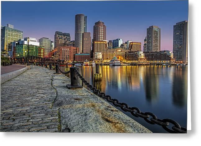 Fan Pier Greeting Cards - Boston Skyline Dawn Greeting Card by Susan Candelario