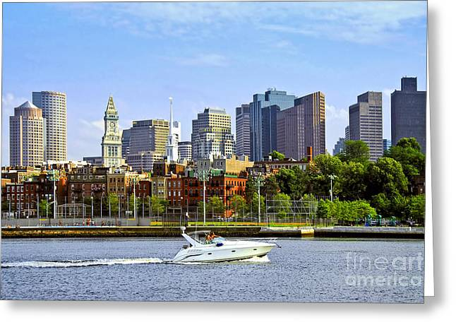Harbour Wall Greeting Cards - Boston skyline Greeting Card by Elena Elisseeva