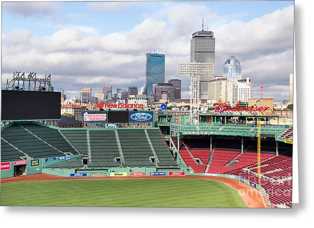 Baseball Stadiums Greeting Cards - Boston Skyline from Fenway Park Greeting Card by Dawna  Moore Photography