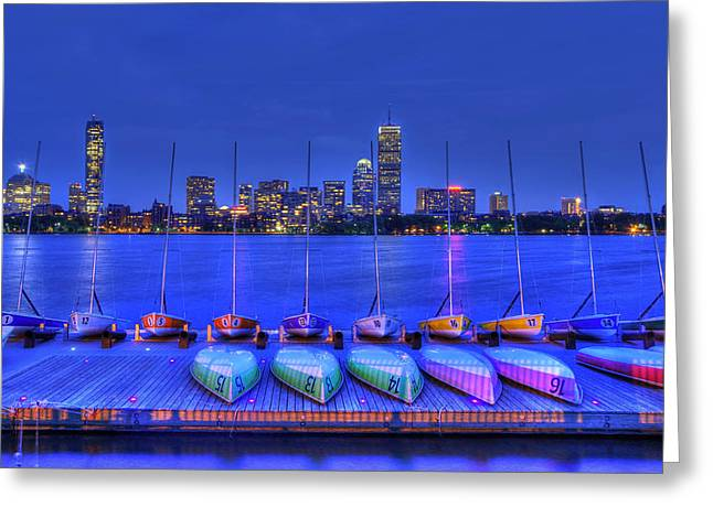 Charles River Greeting Cards - Boston Skyline from MIT Sailing Pavilion Greeting Card by Joann Vitali