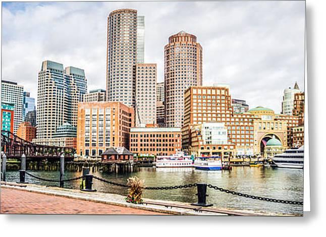 Boston Harbor Greeting Cards - Boston Skyline Harborwalk Panorama Picture Greeting Card by Paul Velgos