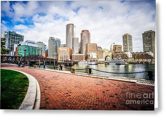 Boston Skyline Harborwalk Picture Greeting Card by Paul Velgos