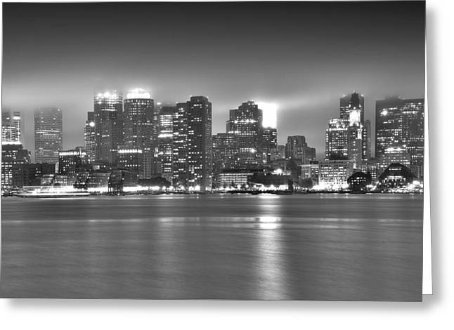 Charles River Greeting Cards - Boston Skyline in black and white Greeting Card by Brendan Reals