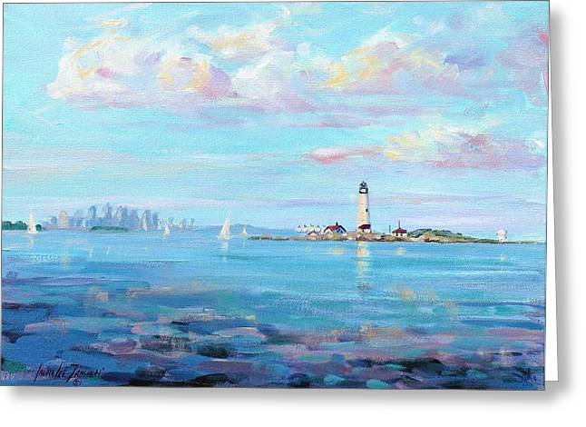 New England Coast Greeting Cards - Boston Skyline Greeting Card by Laura Lee Zanghetti