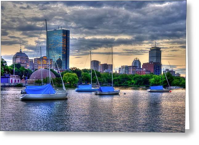 Charles River Greeting Cards - Boston Skyline over Charles River and Back Bay Greeting Card by Joann Vitali