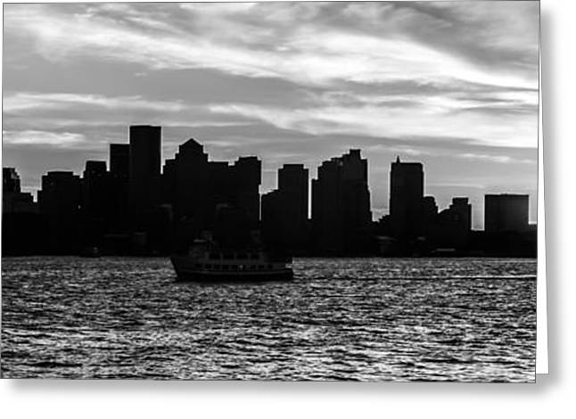 New England Ocean Greeting Cards - Boston Skyline Panorama Black and White Photo Greeting Card by Paul Velgos