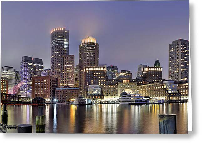 Charles River Greeting Cards - Boston Skyline Panorama Greeting Card by Brendan Reals
