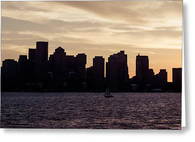 Boston Harbor Greeting Cards - Boston Skyline Panorama Sunset Picture Greeting Card by Paul Velgos