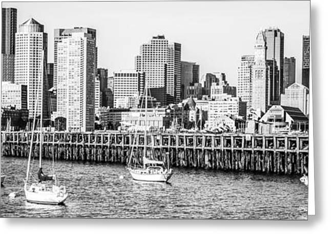 Boston Skyline Panoramic Black And White Photography Greeting Card by Paul Velgos