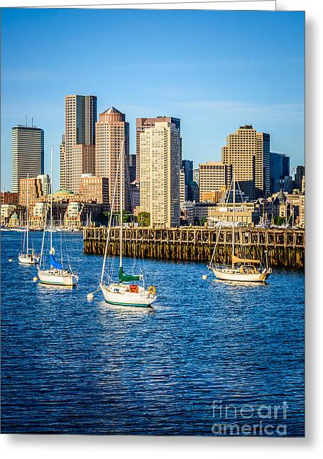 Boston Skyline Photo With Port Of Boston Greeting Card by Paul Velgos
