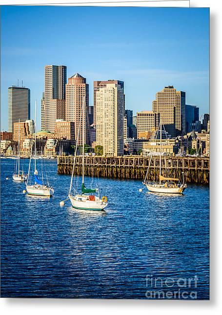 Boston Harbor Greeting Cards - Boston Skyline Photo with Port of Boston Greeting Card by Paul Velgos